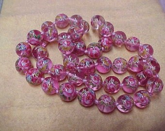 "Vintage Murano Glass 'Rose' Beads, 12MM, 22"", 14K Yellow Gold Spring Clasp"