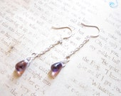Light Amethyst AB Czech Glass Teardrop Chain Earrings TCJG