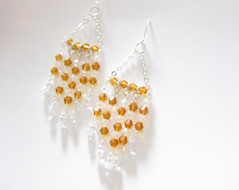 Sunflower Swarovski Crystal Passions Chandelier Earrings TCJG