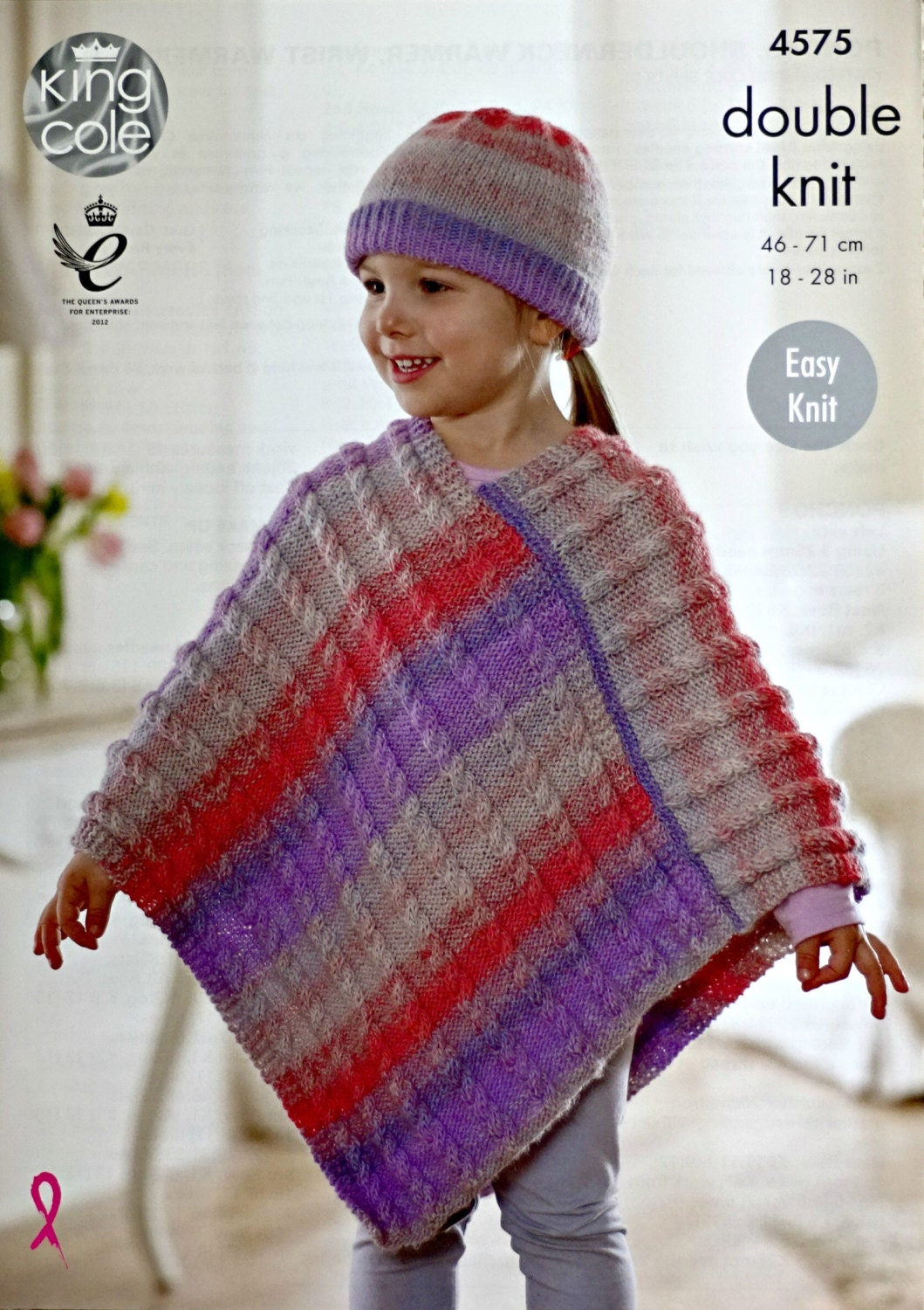 Girls knitting pattern k4575 girls easy knit cable poncho and hat girls knitting pattern k4575 girls easy knit cable poncho and hat knitting pattern sprite dk light worsted king cole bankloansurffo Gallery
