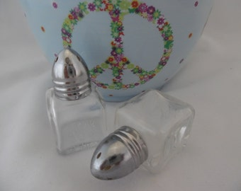 Salt and Pepper Shakers Small Square Clear Glass with Silver Metal Tops