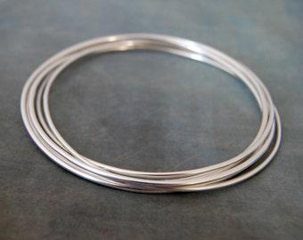 Sterling Silver 5 Interlocking Bangles,  Linked Bangles, 50th Birthday, 5th Anniversary
