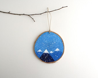 Winter Mountains Ornament - Hand Painted Christmas Ornament - Woodland Ornament