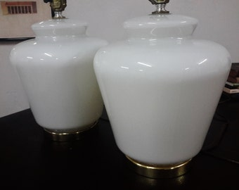 Vintage PAIR WHITE OPALINE Glass Lamps Paul Hanson Style Mid Century Modern Lighting