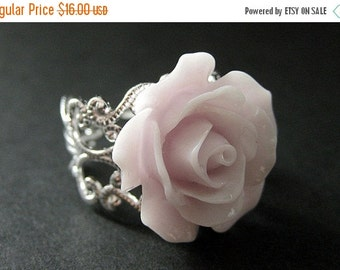 VALENTINE SALE Pale Purple Rose Ring. Purple Flower Ring. Filigree Ring. Adjustable Ring. Flower Jewelry. Handmade Jewelry.