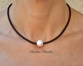 Leather Necklace - Pearl and Leather Necklace - Christine Chandler - One Pearl Necklace - with lg 14mm White Pearl - Pearl and Leather