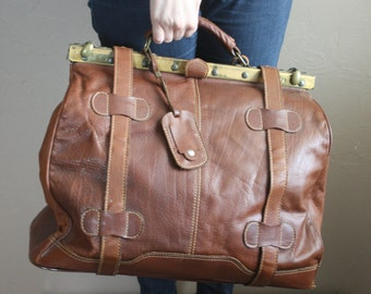 Vintage Large Dark Brown Turkish Leather Travel Bag / Doctor Bag / Weekender / Carry On