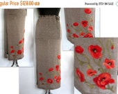 Women's Linen Clothing Knitted Long Skirt with Felted Red Poppy