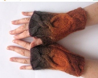 Fingerless Gloves Brown Orange Arm Warmers Knit Soft
