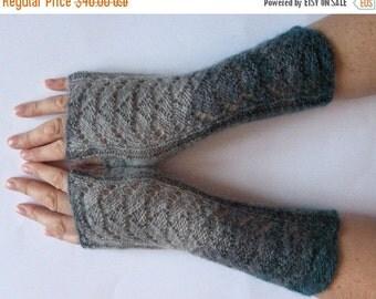 Fingerless Gloves Blue Green Gray wrist warmers