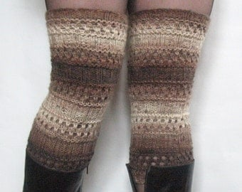 Boot Cuff Boot Toppers Leg Warmers Striped Beige Cream Brown Boot Socks Knit Legwarmers Cable Knitted