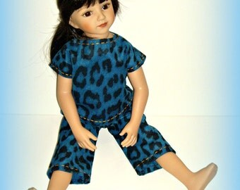 "PJs, Pajama Top and Pants For 20"" Maru and Friends Doll, Dianna Effner Sculpt, Handmade Clothes in Bold Blue Animal Print Flannel Fabric"