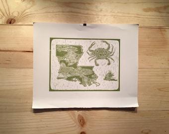 Louisiana State linocut fly fishing artwork by Jonathan Marquardt of BadAxeDesign