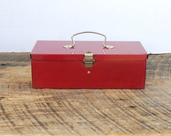Vintage Red Metal Storage Tote Box Merriam