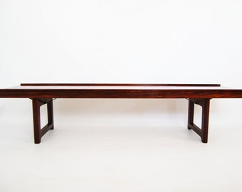 Reserved for my customer S /// SALE: Norwegian Rosewood Low Coffee Table / Bench Model Krobo by Torbjorn Afdal for Bruksbo 1960