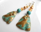 Raw Vintage Brass Nefertiti Heads,Patina Brass,Czech Glass, Glass Pearls,Dangle Earrings,Gift For Her