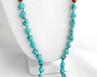 Boho Necklace/Earrings, Bohemian Jewelry, Long Necklace, Turquoise Jewelry, Freshwater Pearl Jewelry, Pendant Necklace, Pendant Earrings