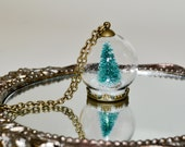 Christmas Tree Snow Globe Necklace, Glass Ball Pendant, Christmas Jewelry, Miniature Christmas Tree Necklace, Alternative Christmas Tree
