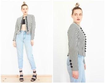 80s Black White Stripe Cropped Victorian Jacket