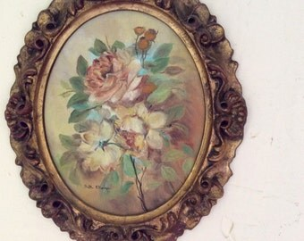 Vintage oval floral painting oil on board  signed  Beth A. Elledge California artist