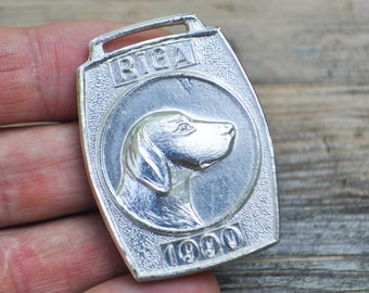 "Vintage 1990 Latvian aluminum dog tag.""Riga 1990"""