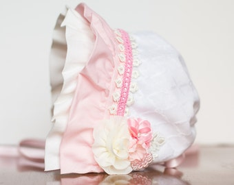 Baby Bonnet - Ivory Newborn Photo Prop - Pink Trim Hat - Vintage Inspired Prop - Baby Hat - Newborn Bonnet - M2M Well Dressed Wolf