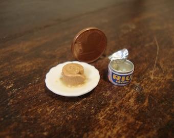 miniature can of tuna open  + dish with tuna