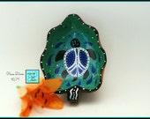 Peace Turtle, Handpainted Wood Trinket Bowl, OOAK Decor in *aqua, blue, white, black* 1671
