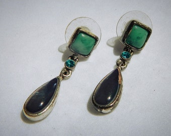Turquoise and Shell Drop Vintage Fashion Stud Earrings