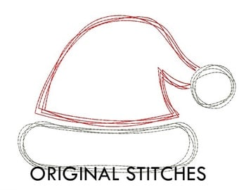 Quick Stitch Christmas Santa's Hat Embroidery Digital Design File 2x2 mini 4x4 5x5 5x7 6x6 6x10 7x7 8x8 8x12