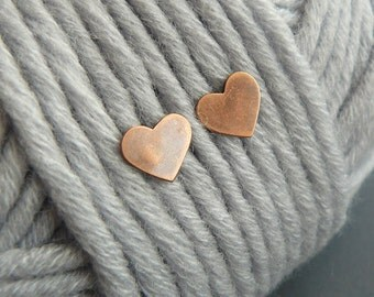 copper hearts small stud earrings, Valentines Day gift, love, minimalist, modern and elegant, gift for her, gift under 30