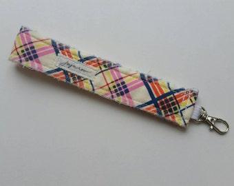 Preppy Plaid Wristlet Key FOB / Key Chain
