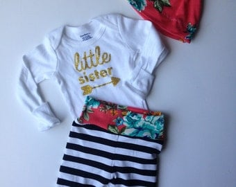 Newborn little sister going home outfit/ newborn coming home set/black stripes and coral flowers