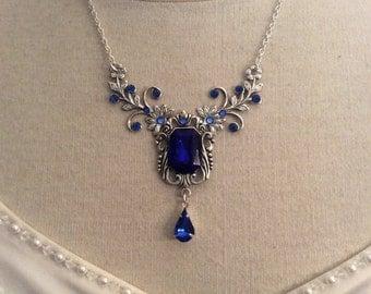 Victorian jewelry Sapphire blue flower necklace flower vine necklace Bridal Necklace Rhinestone wedding necklace bridal jewelry wedding