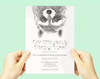 Raccoon Birthday Party Invite, Baby Boby Animal Theme, Woodland Party Invitation, whimsical cute adorable