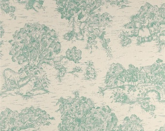 One Queen/King Duvet Cover - Toile Aqua AND  Coordinating Bedskirt Ticking Stripe Aqua - Euro Covers Available