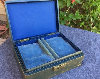 Rumpp leather jewelry box vintage with pillows in trays