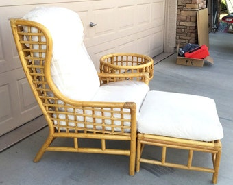 Chippendale  rattan wing chair lounge chair bamboo with ottoman plus 2 tables beach tiki with down filled cotton canvas cushions