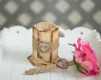 Burlap Guest book pen  with vase select flower showing pink rose  with bride and groom initials