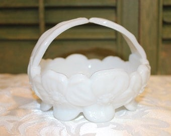 Small Milk Glass Dish With Handle