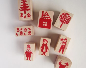 8 piece Little Red Riding Hood wooden rubber stamp set collection with red ink pad