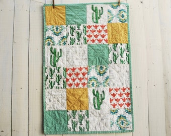 Organic Patchwork Crib Quilt - Organic Cottons - Southwestern Prints, OOAK Baby Quilt, Handmade Gifts, Made to Order