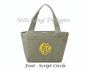 Monogrammed Lunch Tote, Insulated tote, Lunch box, Monogram lunch bag  - 20 Colors Available
