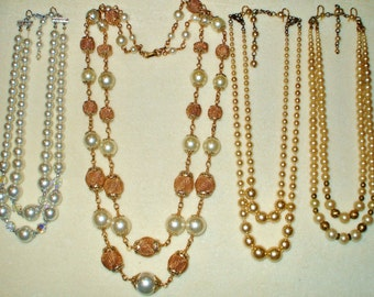 4 Vintage Double Strand Glass Pearl necklaces, signed Japan