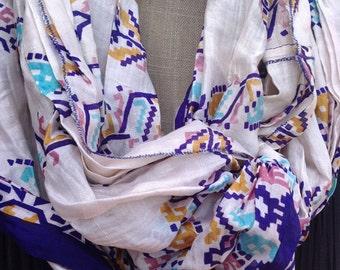 Blues vintage sari silk infinity scarf   FREE SHIPPING