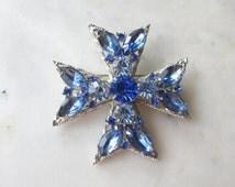 Vintage signed WEISS MALTESE CROSS Blue Rhinestone Brooch Pin - Silver metal Light and Dark Blue, designer Estate  jewelry