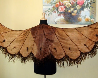 "Felted ruffled shawl scarf "" Angel wings Chocolate"" - White Dream - Wedding Bride brown Butterfly wings bird goth curly"