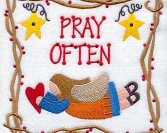 Pray Often Machine Embroidered Quilt Block