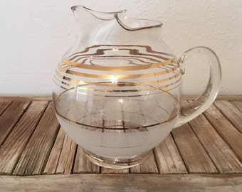 Mid Century Gold Round Glass Pitcher Frosted Glass