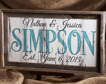 Personalized Family Established Sign, Wood Last Name Sign, Family Name Wood Plaque, Wedding Anniversary Gift